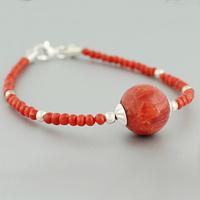Bracelet corail rouge, corail gorgone & argent 925, long. 18cm