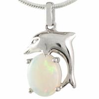 Pendentif dauphin opale blanche & argent 925 rhôdié, hauteur 2cm
