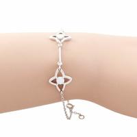 Bracelet opale blanche & argent 925 rhôdié, régl. à 17 et 19cm