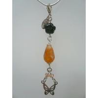 Pendentif Cornaline, Onyx & Argent, charms ou pampille