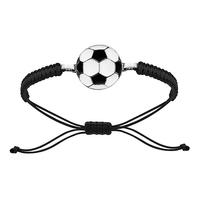 Bracelet ballon de foot noir & blanc acier, cordon coulissant