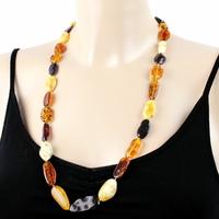 Collier ambre multi, grands morceaux polis, longueur 72cm