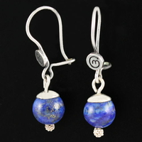 Boucles Lapis lazuli & argent, boules 8mm, hauteur 3cm