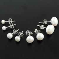 Boucles perles d'eau douce blanches & argent, 4, 6, 8mm et 1cm