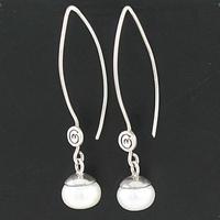 Boucles Perles d'eau douce blanches & Argent, hauteur 4.5cm