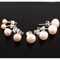 Boucles Perles d'eau douce roses-saumon & Argent, 4, 6, 8mm et 1cm