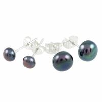 Boucles perles d'eau douce noires & argent 925, diamètre 6 ou 8mm