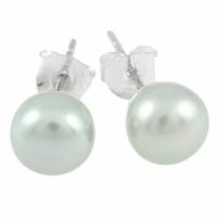 Boucles Perles d'eau douce grises & argent 925, diamètre 8mm