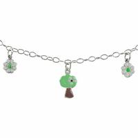 Bracelet Argent, Fleurs & Arbres émaillés, réglable jusque 18,5cm