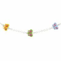 Bracelet Argent, Papillons multicolors, réglable jusque 17.5cm