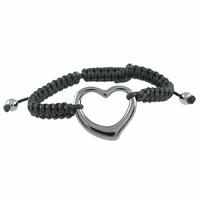 Bracelet Céramique grise, Coeur, cordon noir réglable