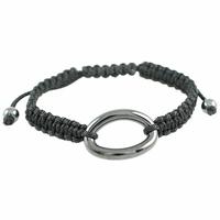 Bracelet céramique grise, Ovale bombé, cordon réglable