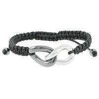 """Bracelet Céramique grise & Acier, anneaux """"Infini"""", cordon noir réglable"""
