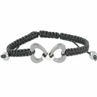 Bracelet Céramique grise & Acier, 2 Coeurs,  cordon noir réglable