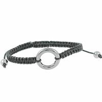 Bracelet Céramique grise, Rond ajouré, cordon noir réglable