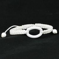 Bracelet Céramique blanche, Ovale bombé, cordon réglable