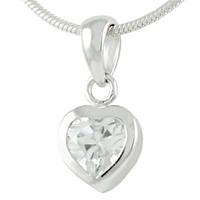 Pendentif Coeur argent 925 & oxyde faceté, petit modèle, haut. 1.5cm