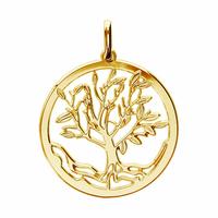 Pendentif arbre de vie plaqué or, 2.5cm, haut. 3.3cm