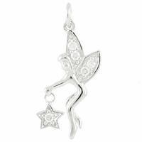 Pendentif Fée tenant son étoile, argent 925 rhôdié & oxydes blancs, hauteur 2.5cm