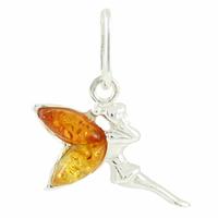 Pendentif fée ailes ambre miel & cognac clair, 1.5cmx1.5cm, hauteur totale 2.2cm