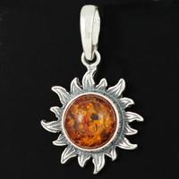 Pendentif soleil 1.8cm de diamètre, ambre cognac & argent 925,  hauteur 2.5cm