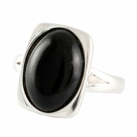 Bague jais & argent 925, ovale & rectangle, T. 52 et 54
