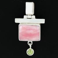 Pendentif opale rose, péridot & Argent, pièce unique, haut. 3.5cm, photo contractuelle