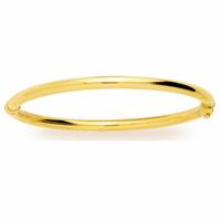 Jonc semi-rigide ouvrant forme ovale en plaqué or, fil 4mm, poignet de 15 à 16.5cm