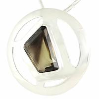 """Pendentif quartz fumé """"fantôme"""" & argent 925, diamètre 3.5cm"""