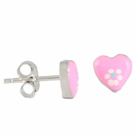 Boucles Coeurs roses argent 925, puces 7mm
