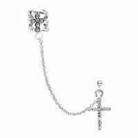 Boucle croix, pampille croix, argent 925 rhôdié & oxydes, vendue à l'unité