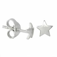 Boucles étoile en argent 925 rhôdié, puces 6mm