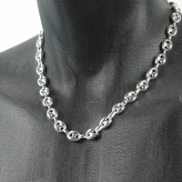 Collier grains de café 10x12mm argent 925 option rhôdié (poids 40 à 48g !), long. 50 à 60cm