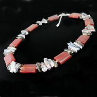 Collier cornaline, cristal de roche, quartz fumé, perles & argent 925, réglable de 43 à 48cm