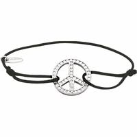 Bracelet peace & love argent rhôdié & oxydes sur cordon coulissant