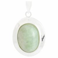 Pendentif Jade vert & argent 925, haut. 3cm