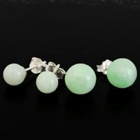 Boucles Jade & argent 925, au choix 6 ou 8mm