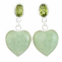 "Boucles Coeurs Jade vert ""océan"" & argent 925 - 2.5cm"