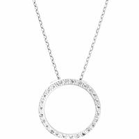 Collier anneau 2cm argent 925 rhôdié & oxydes, régl. à 40 et 42cm