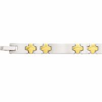 Bracelet acier bicolore pvd doré, 7mm de large, longueur 22cm, réglable
