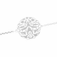 Bracelet Argent, médaillon filigrané, réglable à 16, 17 et 18cm.