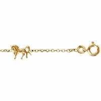 Bracelet plaqué Or, 3 chevaux, réglable de 14 à 17cm