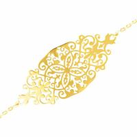 Bracelet filigrané plaqué or, réglable à 16, 17 ou 18cm