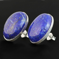 Boucles Lapis lazuli & argent 925, hauteur 1.9cm