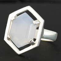 Bague Agate ou Calcédoine bleue & Argent T. 58, photo contractuelle