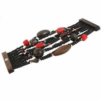 """Bracelet Bois, Corail bambou & Argent, """"Manchette"""", longueur 20cm, photo contractuelle."""