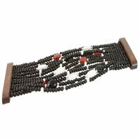 Bracelet Bois, Agate blanche, Cornaline, Onyx, Manchette large, long. 20.5cm,photo contractuelle