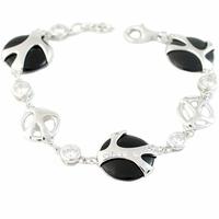 Bracelet Onyx, oxydes & argent rhôdié, réglable de 18 à 19cm
