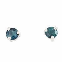 Boucles tourmaline bleue 4mm & argent 925