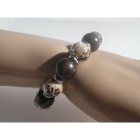Bracelet Nacre, Bois & Argent